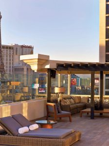 Views over The Strip from the Villa terrace at Nobu Hotel.