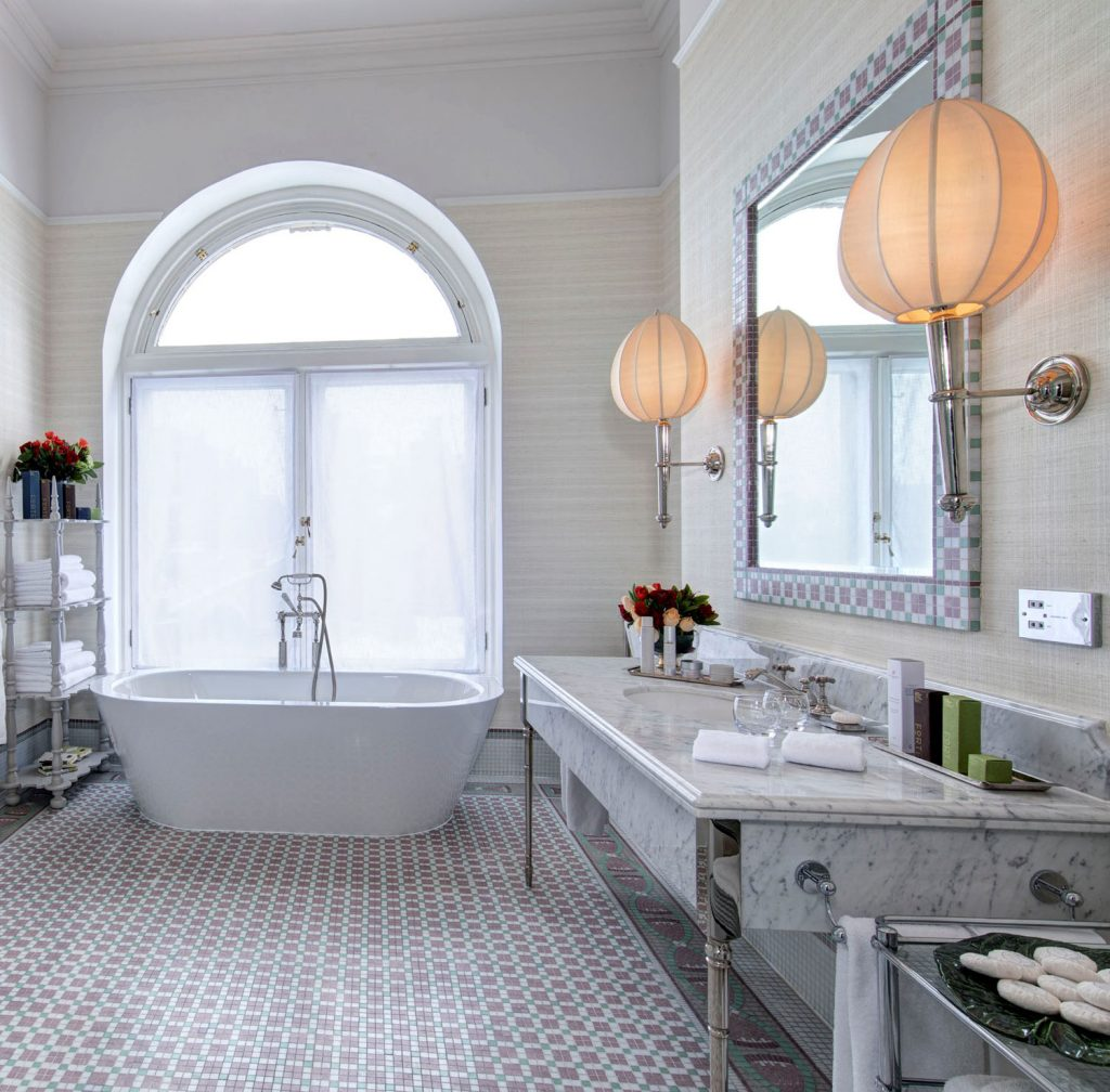 The luxurious bathroom in the Scone & Crombie Suite. (Photo courtesy of The Balmoral Hotel.)