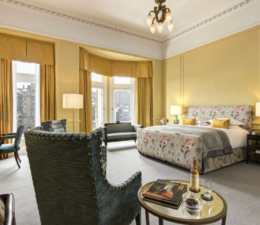 The master bedroom in the Scone & Crombie Suite at The Balmoral. (Photo courtesy of The Balmoral Hotel.)