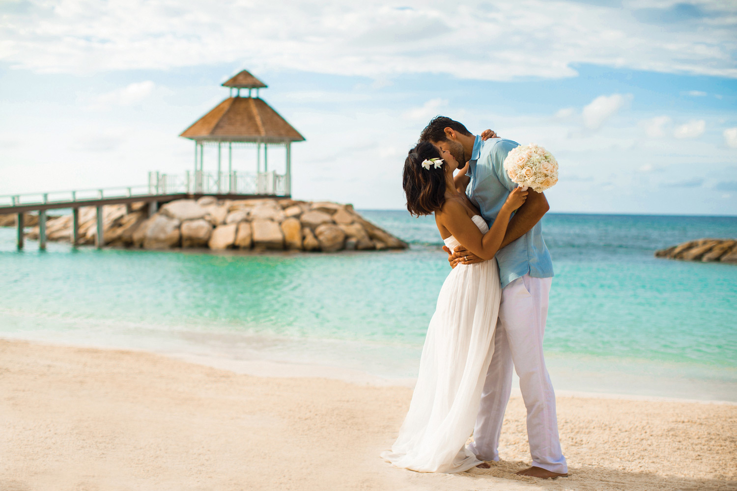 """Just married"" at Hyatt Zilara Rose Hall in Jamaica."