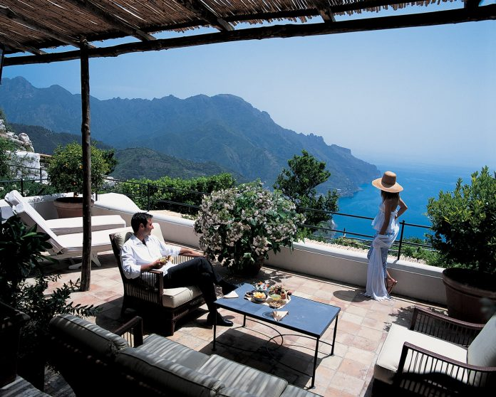 The Belmond Hotel Caruso is perched high above the town of Ravello on the Amalfi Coast.