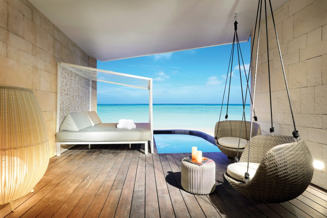 Rendering of a guestroom terrace at the TRS Coral Hotel, opening this October in Costa Mujeres.