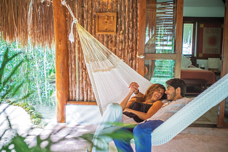 Cuddling at The Explorean Kohunlich in Chetumal.