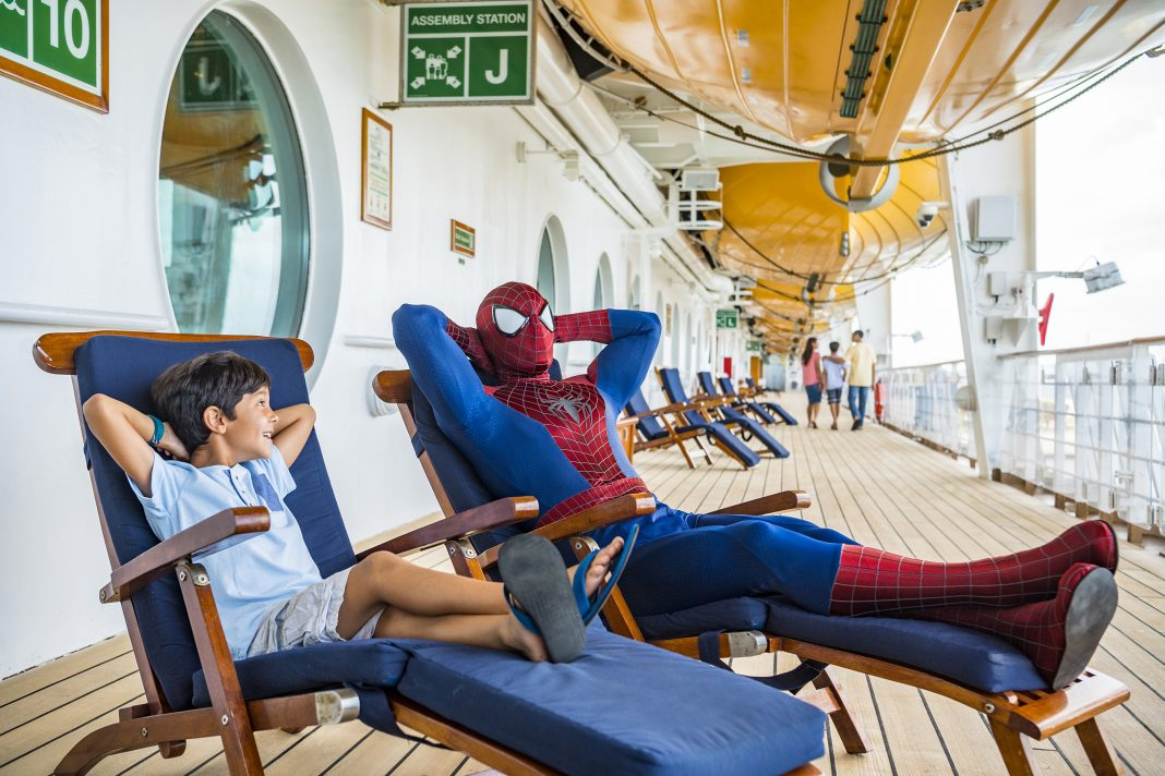 Marvel super heroes like Spider-Man are onboard for heroic encounters during Marvel Day at Sea. (Photo credit: Matt Stroshane)