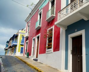 In many areas, colorful homes line the streets of San Juan. (Photo credit: Ed Wetschler)