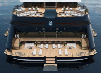 Renderings of the first of three yachts in the Ritz-Carlton Yacht Collection.