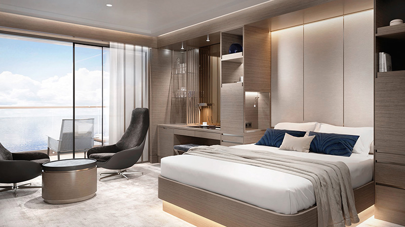 Renderings of the Terrace Suites on board the first yacht in the Ritz-Carlton Yacht Collection.