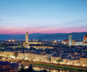 Nighttime views of Florence, one of the stops on the Italy FAMs hosted by Tours Specialists Inc.