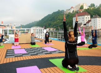 AmaWaterways' Wellness Program includes fitness classes such as yoga on the sundeck.