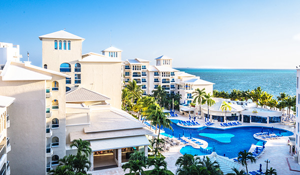Overlooking the pool and beach at Occidental Costa Cancun.