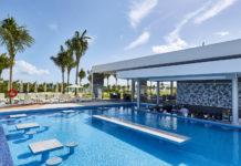 The resort features five pools, including one for adults only with a swim-up bar.