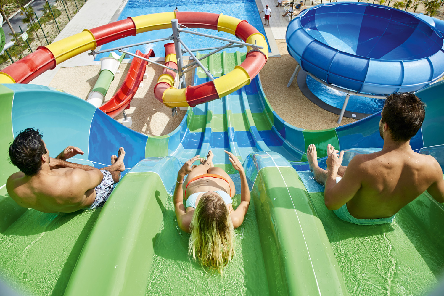 Splash Water World offers 4-lane body slides, a free-fall slide, and an exhilarating tube slide.