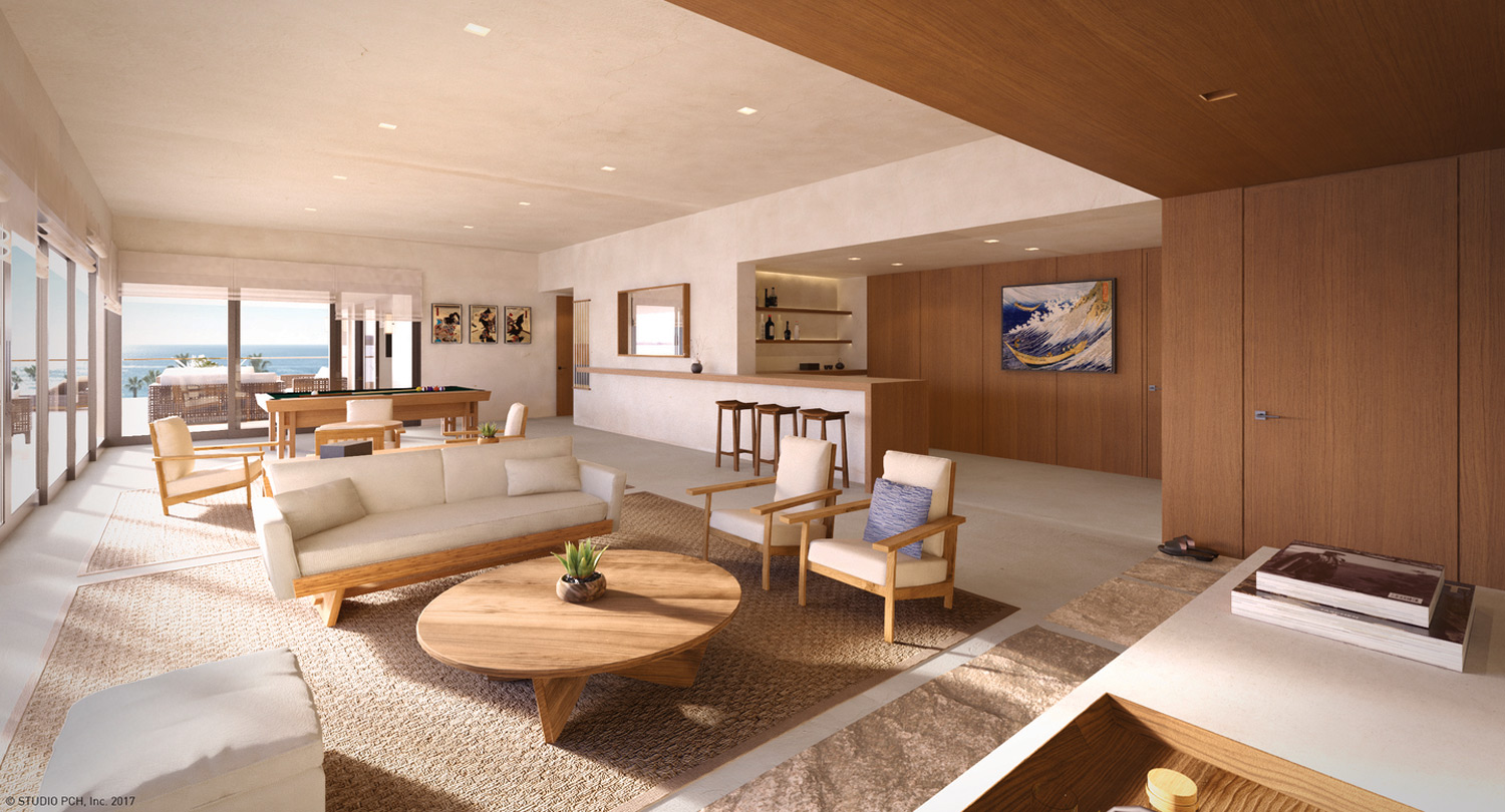 Rendering of the Presidential Suite at Nobu Hotel Los Cabos, set to open in early 2019.