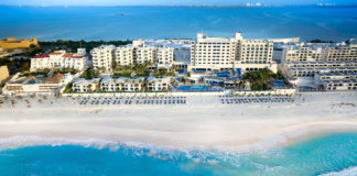 Aerial view of Occidental Tucancun, a Barcelo Hotel Group property in Cancun.