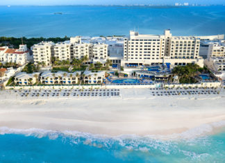 Aerial view of Occidental Tucancun, one of two Barcelo properties offering family discounts this summer.