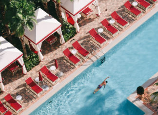 An aerial view of one of the three pools at Acqualina Resort & Spa.