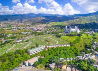 The capital city of Tegucigalpa in Honduras.