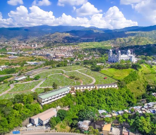 The capital city of Tegucigalpa in Honduras.