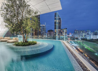 Views from the Waldorf Astoria Bangkok pool.