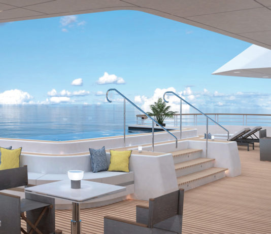 The Outdoor Grill Bar on board a Ritz-Carlton yacht.