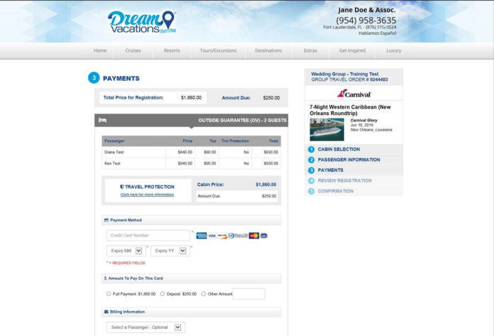 dream vacations group registration