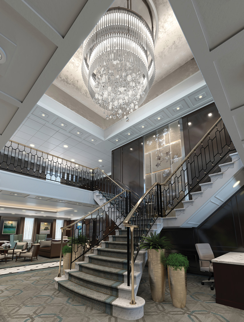 New grand staircase on board Oceania's Regatta-Class ships.