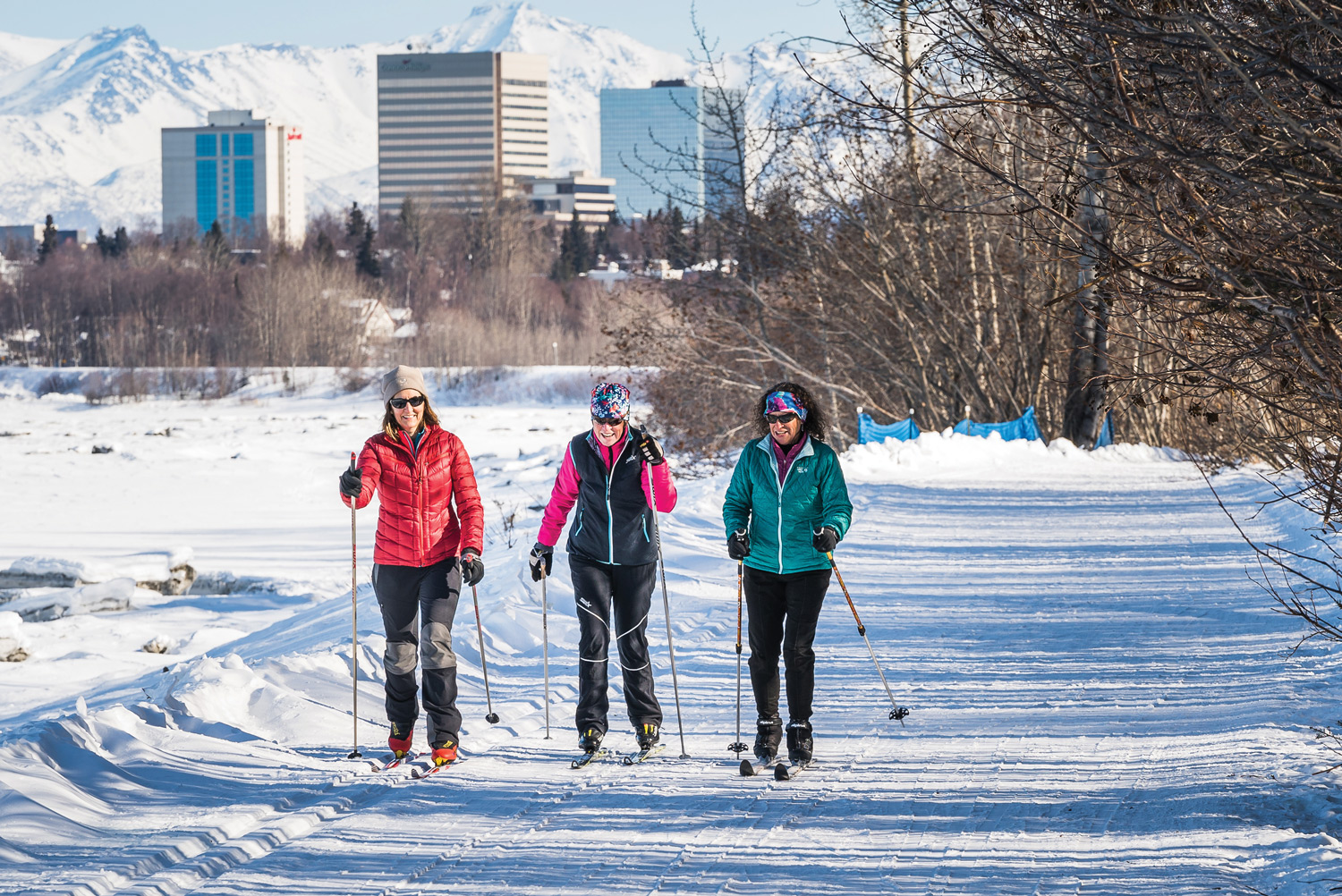 Anchorage Coastal Trail Skiers.