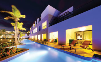 Top: Swim-up Junior Suites at TRS Cap Cana Hotel.