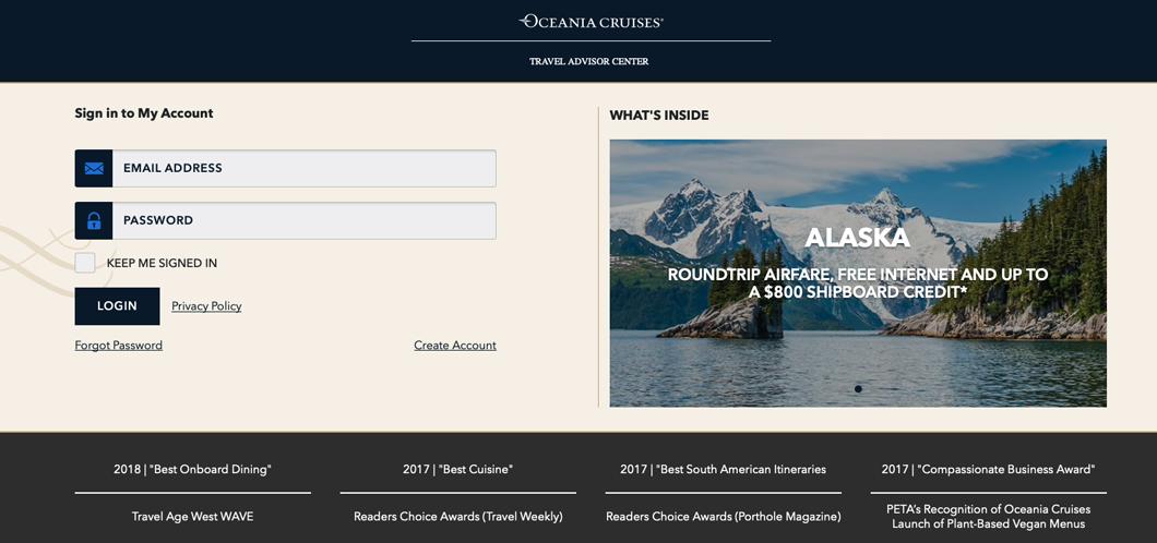 Oceania, Cruises, Portal